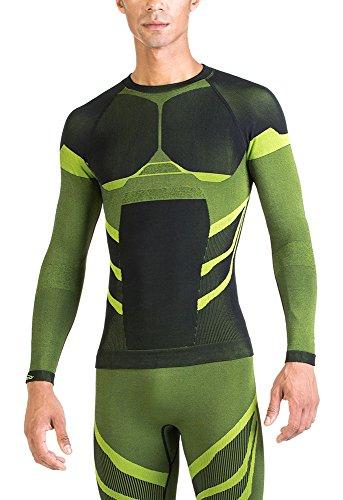 Xaed - maglia a maniche lunghe a compressione, da uomo, medium, colore nero / lime