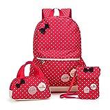 FRISTONE Mädchen Polka Punkt Schulrucksack Kinder Daypack/schulrucksäcke /Kinderbuchtasche Mädchen Teenager + Mini handtasche + Geldbeutel Umhängetasche,Set von 3 (Rot)