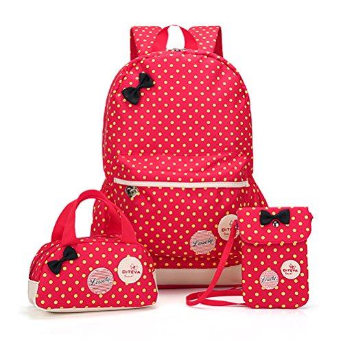 CUILEE 3pcs Impermeabile Zaino Scuola Elementare per Ragazza+ ragazza borsetta + mini crossbody Borse,Rosso