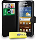 Black Leather Wallet Flip Case Cover Pouch For Samsung Galaxy Ace 2 I8160 + Free Screen Protector - Black