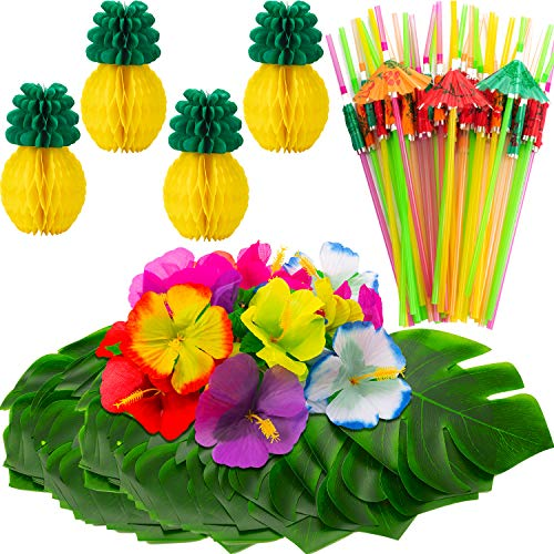 WILLBOND 102 Stücke Hawaiian Tropische Urwald Party Dekoration Set Beinhaltet 24 Tropische Palm Simulation Blätter, 24 Seide Hibiskus Blumen, 4 Seiden Papier Ananas, 50 Bunte Regenschirm Strohe - Hibiskus-blumen Papier