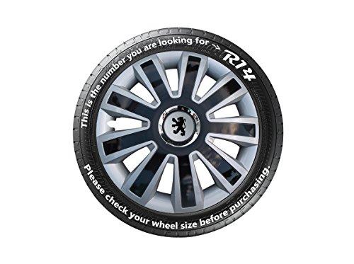 Replica-Peugeot-107-x-14-4-copricerchi-Nero-Argento-si-prega-di-controllare-Ruote-prima-di-ordinare