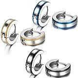 Jewelrywe joyas - pendientes hombre, 4 mm de ancho Fácil lisa Pendientes de aro pendientes, acero inoxidable, Negro Oro Azul Plata