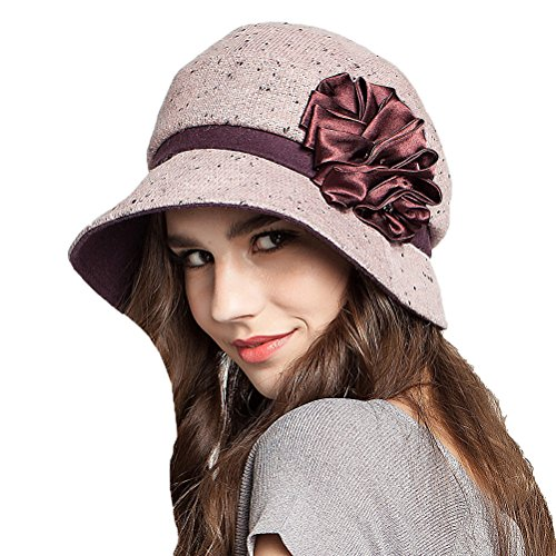 Maitose™ Frauen dekorative Blumen Wool Beret Light Purple