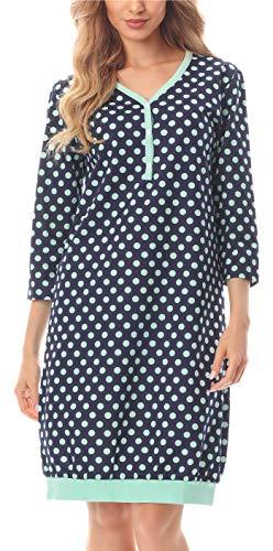 Merry Style Chemise de Nuit Vêtement d'Intérieur Femme MS10-181 (Bleu foncé/Points, M)