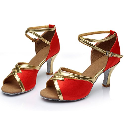 Oasap Women's Peep Toe Ankle Strap High Heels Latin Dance Shoes Red