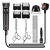 Pet Grooming Clippers, Focuspet Corded Low Noise Dog Grooming Clippers Kit 2.8 Meter Electric Hair Trimming Clippers Set 12 V Motor Pet Hair Shaver for Small Medium Large Dogs Cats Other Animals