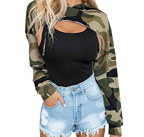 Crop Top Damen Herbst Fashion Chic Sport Langarm Hoodies Camouflage Casual Unikat Style Loose Gedruckt Streetwear Sweatshirt Kapuzenpullover Kapuzenshirt (Crop Langarm Loose Top)