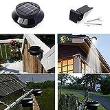 GOESWELL Solarzauber Dachrinnen-Leuchten Solar 3LEDs Powered Lichtsteuerung Outdoor Zaun-Licht und Wandleuchte 2-er Pack (Schwarz Shell- Weiß)