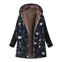 Lazzboy Women Coat Jacket Parka Vintage Warm Floral Print Flannel Lining Warm Hooded Oversized Plus Size Baggy,UK 6-20