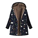 LOPILY Damen Winterjacke Kapuzenjacke Steppjacke Winter Outwear Blumendruck Taschen Vintage Oversize Coats Trenchcoat Warm Fleecejacke Softshell Windbreaker (Navy ,M)