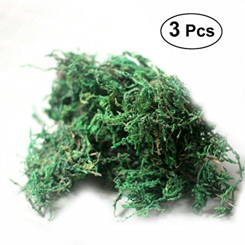 WINOMO 3 confezioni di muschio artificiale simulazione di licheni piante verdi finte per la decorazione del patio giardino domestico 60 g / pacco
