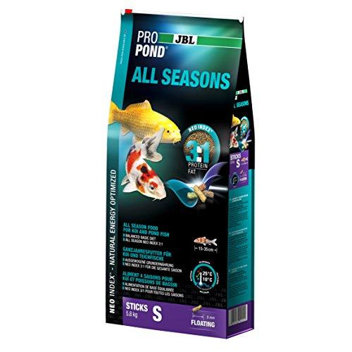 JBL Ganzjahresfutter für Koi, Schwimmende Futtersticks, Saisonfutter, ProPond All Seasons, Größe S, 5,8 kg