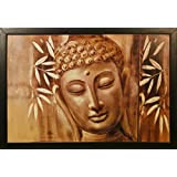 "PAF Buddha Painting||Buddha Painting|| Buddha Painting|| Buddha Poster|| Krishna Wall Stickers ||PAF Pooja Art ""N"" Frame Exclusive Framed Wall Art Paintings For Living Room And Bedroom. Frame Size(Wood, 35 Cm X 2 Cm X 50 Cm, Special Effect Textu"