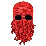 MOONPOP Unisex Handarbeit Lustige Oktopus Strickmütze Bartmütze Stickmütze Häkeln Wollmütze Halloween Maske Gesichtsmaske (Rot)