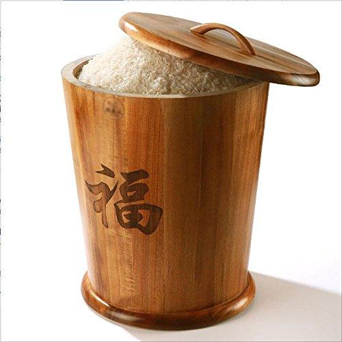 ASL Bouchon de riz en bois massif Riz de stockage Boîte de rangement, contrôle des parasols de la cuisine Rangement de stockage de grains Riz de riz frais Riz de tambour Seal Up Cereals Bucket Flour Bucket 10-25kg Protection environnementale ( taille : 43*38.5CM )