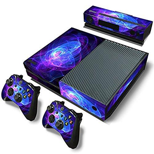 Xbox One Protective Vinly Skin Sticker Consola Decal Pegatinas + 2 Controlador & Kinect Skins Set (Púrpura Bobina)