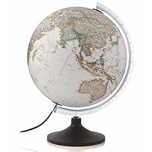 National Geographic – Globo terráqueo de plástico, iluminado, en castellano, 30 cm, color sepia (Mapiberia Carbon Executive)