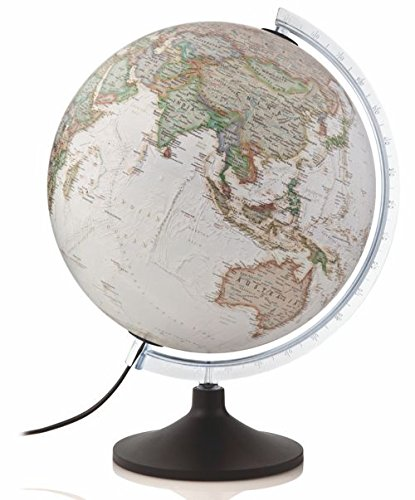 Globo Terráqueo National Geographic - Globo de plástico, iluminado, en castellano, 30 cm, color sepia (Mapiberia Carbon Executive)