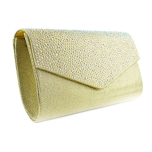 Kick Footwear Ladies Diamante court shoes Gold Kupplung