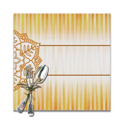 Rterss - Juego de manteles Individuales Lavables con diseño de Mandala de Color Naranja Vintage, con Aislamiento Antideslizante de 30,5 x 30,5 cm (6 Unidades)