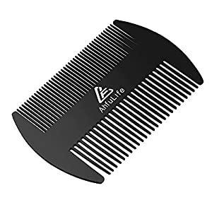 Metal Hair&Beard Comb - AhfuLife® EDC Credit Card Size Comb Perfect for Wallet and Pocket - Anti-Static Dual Action Beard Comb(Black))