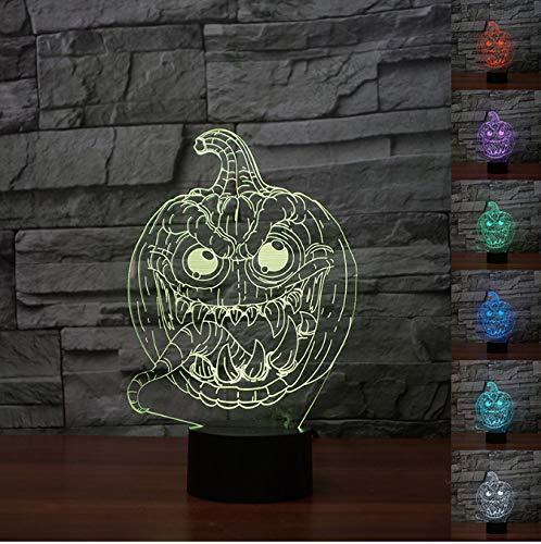3d Led Lámpara De Ilusión Óptica Calabaza Monester Luz De Noche Para Halloween Fiesta Decoración 7 Color Cambiante Luz De Luz Lámpara Táctil