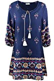 KorMei Damen Rundhals 3/4-Arm Tunika Strandkleid Minikleid Bohemian Kleider Blau M