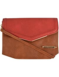 Shimmer Women's Sling Bag (Red And Brown, M_016)