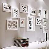 Nero Bianco Foto da Parete Multiplo Photo Wall Moderno Semplice Creativo Foto Muro Ornamento Cornici Fotografiche da Muro Legno Massello Photo Frame Wall Set 12 Pezzi Set
