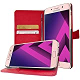 Coque Samsung Galaxy A3 2017 , Housse Luxe Portefeuille avec Support Video Galaxy A3 (2017) A320 , Buyus Etui Protecteur pour Galaxy A3 2017 - Rouge