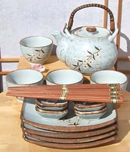 Thé et Sushi Ensemble japonais de Bleu clair Fleur de cerisier pour 4
