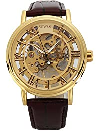 Sewor C848 - Reloj mecánico para hombre, correa de piel