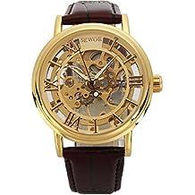 SEWOR reloj para hombre de esqueleto, mecánico transparente reloj de pulsera con estilo Vintage piel marrón