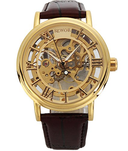 SEWOR Men's Mechanical Hand-Wind Skeleton Transparent Wrist Watch with Vintage Style (Gold)