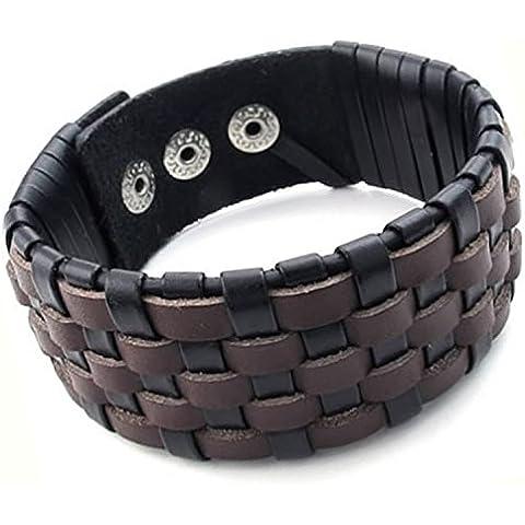 mendino para hombre tejido de malla Amplia Cuff Bangle pulsera de ajustable de piel marrón de Fit 8–9Pulgadas Con 1x bolsa de terciopelo