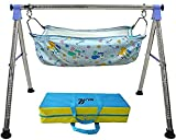 WESTTURN_INDIA_Fully Folding Stainless Steel_Baby Cradle_BLUE