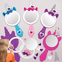 Baker Ross Unicorn Mirror Kits Foam Craft Project for Kids, Children's Arts and Crafts, Fantasy, Parties, Gifts, Keepsakes (Pack of 4), AT382