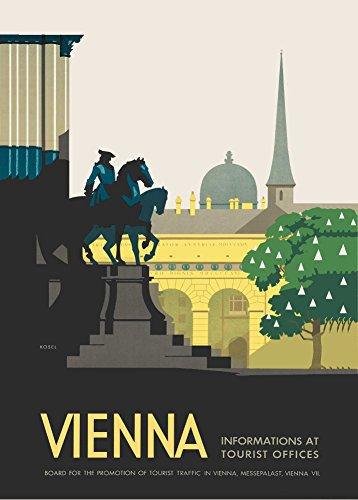 Da viaggio, stile vintage, per l'austria vienna c1930 's cartolina illustrata, formato a3, 250 g/mq, riproduzione