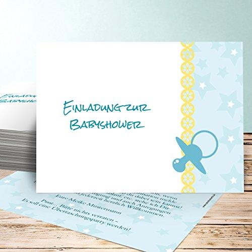 Babyparty Einladungskarte, Schnuller 20 Karten, Horizontal einfach 148x105 inkl. Umschläge, Blau