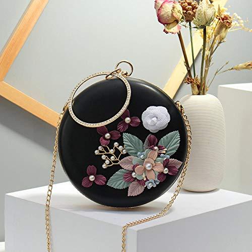 YZJLQML Lady bagsSmall runde Tasche Mode Mädchen Umhängetasche Wilde kleine Tasche @Black -