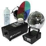 Disco Licht Komplettset Basic 4er Party Beleuchtungs Set (Discokugel, Nebelmaschine mit Flüssigkeit, Mini Stoboskop Blitzer, LED Strahler mit Farb-Drehscheibe)