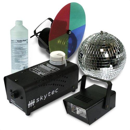 Disco Licht Komplettset Basic 4er Party Beleuchtungs Set (Discokugel, Nebelmaschine mit Flüssigkeit, Mini Stoboskop Blitzer, LED Strahler mit...