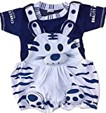 #5: Miss U Unisex Dungaree Set with T Shirt (cat-Blue_Blue_0-6 Months) (Blue, 0-6 Months)