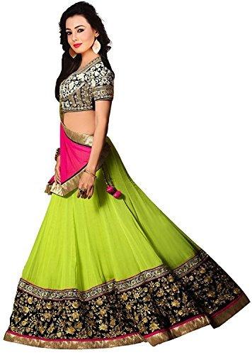 Purva Art Girls Faux Georgette Parrot Green Embroidery Work Lehenga Choli (PA_PLC_623_Semi-Stitched_Wedding Wear)