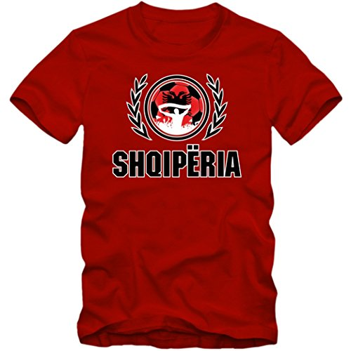 Albanien WM 2018#2 T-Shirt | Herren |Trikot |Nationalmannschaft | Shqiperia, Farbe:Rot (Red L190);Größe:XXL