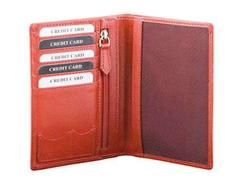 Koruma-Portafoglio in vera pelle da viaggio per passaporto biometrico, carte di credito, porta documenti, Rosso (rosso),