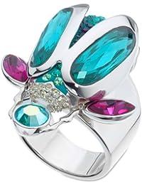 Swarovski Translucent - Anillo de acero inoxidable con cristal swarovski, talla 12