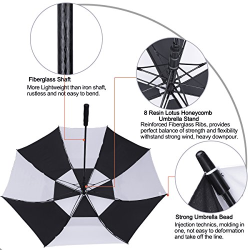 G4Free 62 Inch Automatic Open Golf Umbrella Extra Large Oversize Double Canopy Vented Windproof Waterproof Stick Umbrellas (Black/White)