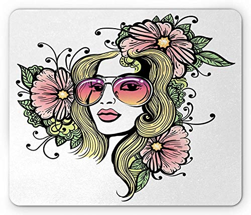 Curly Hair Mouse Pad, Exotic Young Woman with Sunglasses and Flowers Hippie Freedom Look, Standard Size Rectangle Non-Slip Rubber Mousepad, Green Pink and Yellow